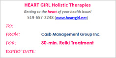 Reiki Treatment Gift Certificates